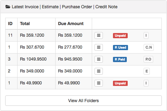 Latest Invoice | Estimate | Purchase Order | Credit Note
